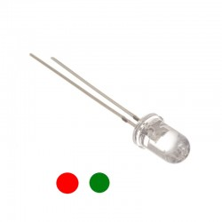 2 Pin 5mm Bi-Color Red Green Changing Flashing LED