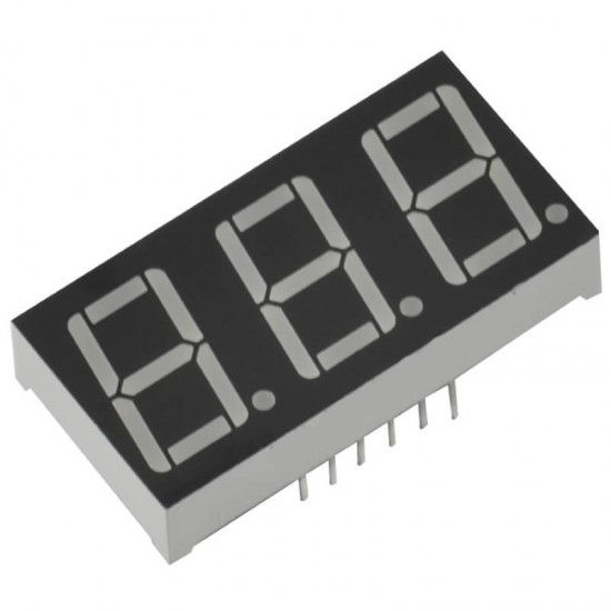 3 Digit Seven Segment Display Common Anode (Red)-0.56 Inch
