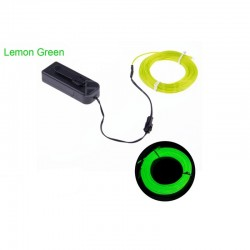 EL Wire Neon Light Rope Tube Cable+Battery Controller- 5 Meter Lemon Green