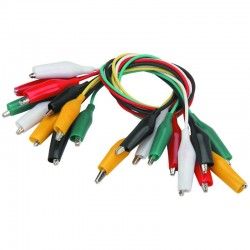 Alligator Test Leads Jumper Cable - Multicolored (10 Pack)